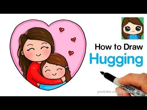 How To Draw Hugging Mom Easy Youtube Mom Drawing