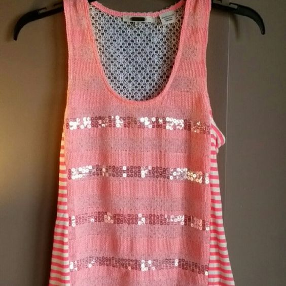Miss Me Top - Sequins / Lacy Back Beautiful coral and white tank from Miss Me.  Has beautiful sequin stripes across the front and a lacy crocheted back.  In flawless condition. Miss Me Tops Tank Tops