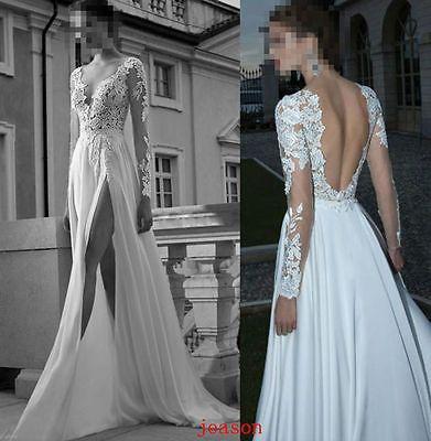 New Deep V-Neck Backless Wedding Dress Applique Chiffon Berta Bridal Gowns
