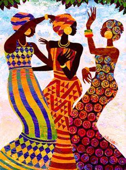 CELEBRATION by Keith Mallett~Three women dance in a joyful Celebration of life. This colorful open edition print is hand signed by the artist.: