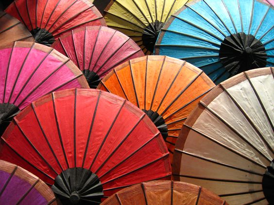 Japanese parasols at outdoor Kyoto market