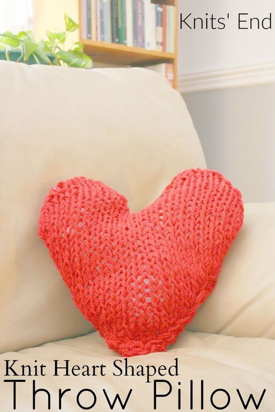 Hand Knit Heart Shaped Knit Throw Pillow Easy pattern for a DIY valentine gif...