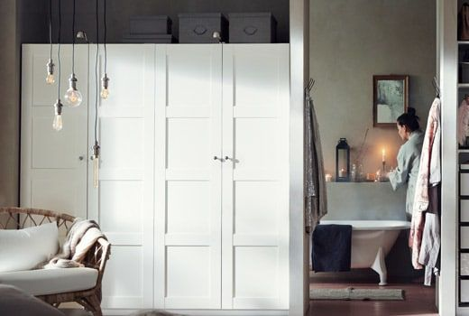 White Ikea Pax Wardrobes With Hinge Doors Ikea Custom Closets