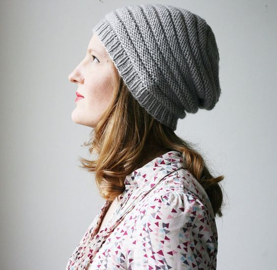 Slouchy beanie - hat knitting PATTERN - Miniques slouch