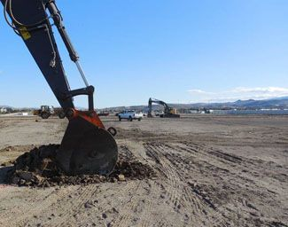 The Groundbreaking for the Theater Construction begins...