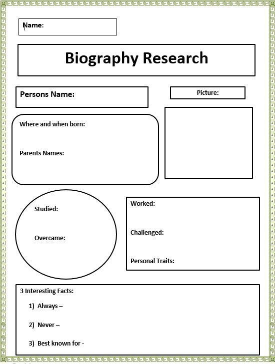 Short Biography Research Graphic Organizer Graphic Organizers