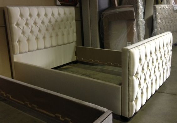 """78"""" tufted upholstered black ultra suede bed with footboard ..."""