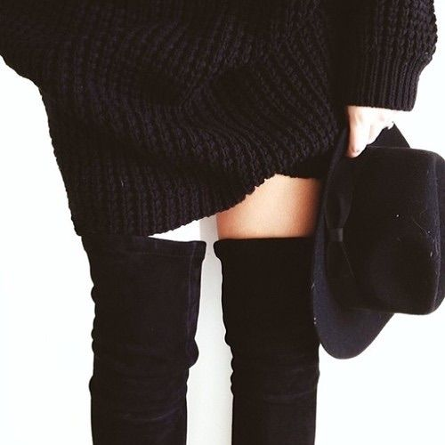 Image via We Heart It https://weheartit.com/entry/102088041 #boots #hat #knit #overtheknee #winter