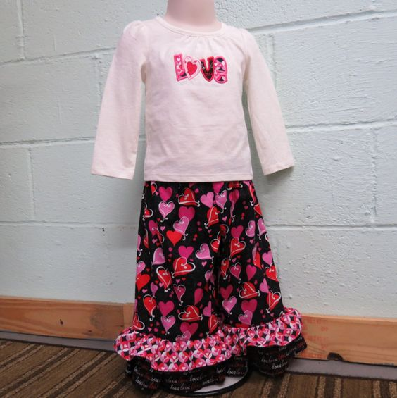 Ruffle Pants Outfit, Valentine's Day Boutique Outfit, Toddler Ruffle Pants Outfit, Girls Ruffle Pants Outfit by madewithlovemarketpl on Etsy
