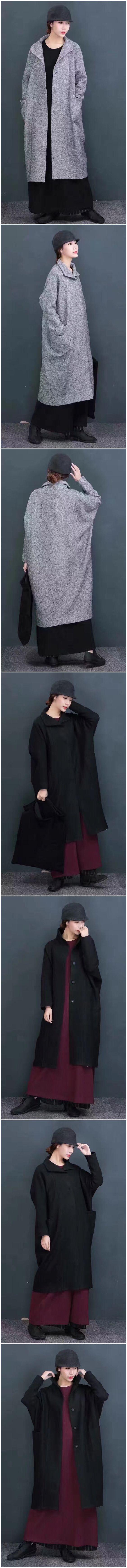 Black wool coat women