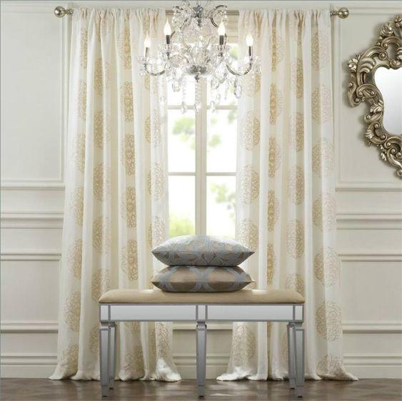 Windsor medallion curtain drapery panels for 120 inch window treatments