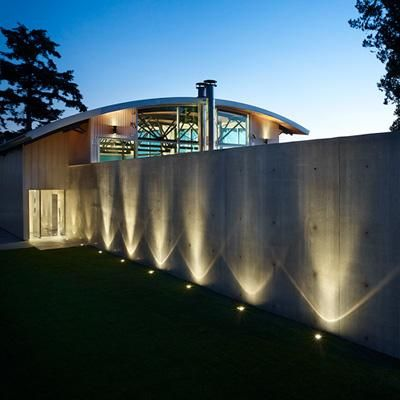 Uplighting the concrete wall for dramatic effect