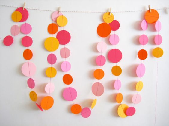 Pink and Orange Paper Garland.