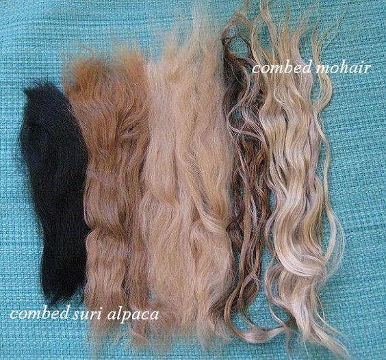 Doll Hair /  combed Mohair and Suri alpaca / color Sampler / no dye / No fragrance. $16.00, via Etsy.