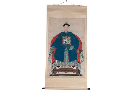 """Chinese ancestor portrait from the 19th-century. These types of portraits were actually painted after the person had died. They were mounted on scrolls and were only shown from time to time in connection with the veneration of ancestors. Purchased in Macau in the late 1990s and remounted on a new scroll.   Dimensions: image, 48.5""""L x 29.5""""W; overall scroll, 68""""L x 33""""W."""