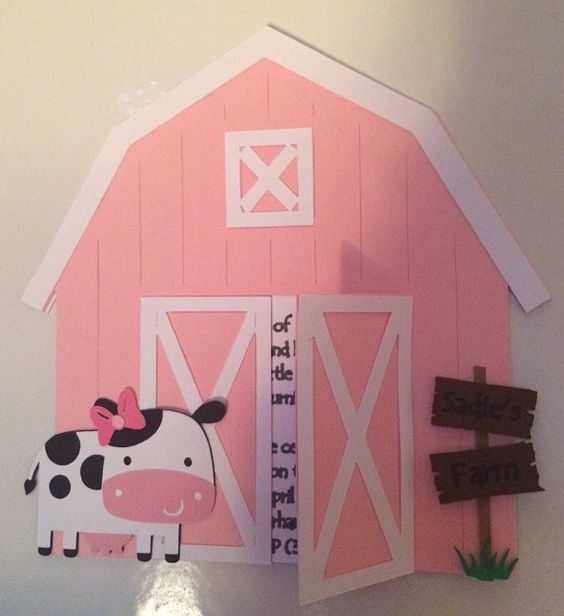 Perfect invitation for a birthday party or baby shower! These Barn Shaped invitations feature a cow with bow, personalized pop out wood sign, and opening doors that can be customized to your party details, wording, and information. Each invitation is hand crafted, and you wont find anything like this at your party store! This listing is for a set of 10 invitations, measuring 5 1/2 x 5 1/2 and come with 10 envelopes. When ordering please include party details and wording you would like to…