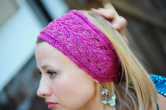 Free Knitted Headband Patterns Pink Lace Headband By Niseyknits