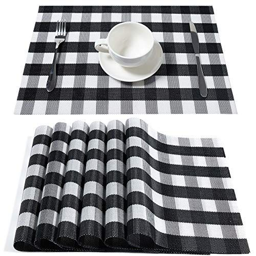 Dolopl Buffalo Check Black And White Placemats Crossweave Https Smile Amazon Com Dp B07mzqvfmv White Placemats Fall Kitchen Table Dining Table In Kitchen