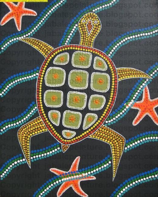 Une tortue de mer, peinte à la manière des aborigènes d'Australie.:
