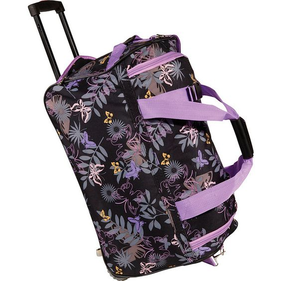 """Rockland Luggage 22"""" Rolling Duffle Bag Travel Duffel Bag ($28) ❤ liked on Polyvore featuring bags, luggage, purple and small rolling luggage"""
