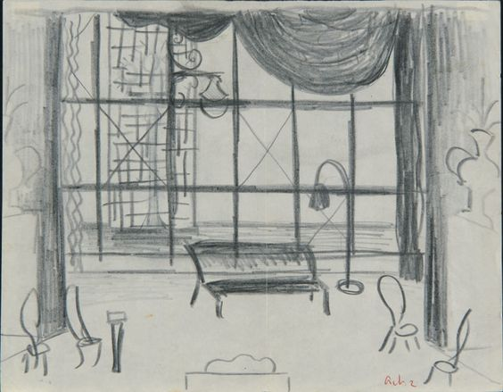 Created by: McCahon, Colin  Title: Stage designs for [The Thieves Carnival, by Jean Anouilh] Act 2.  Date: [ca. 1953]  Location: Hocken Pictorial Collections - 72/108