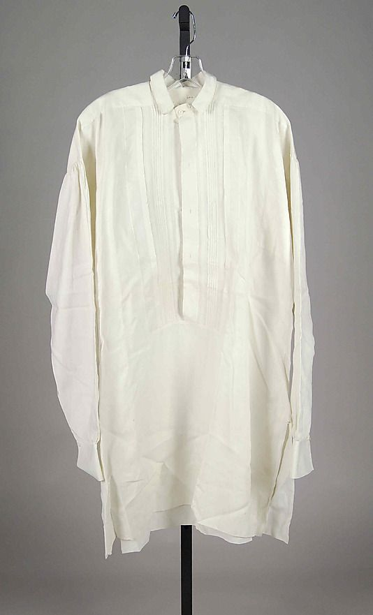 Evening shirt Date: ca. 1860 Culture: American Medium: Linen