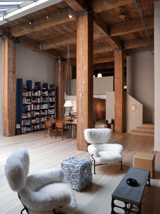 Heavy Timber with tall ceilings for a studio look.