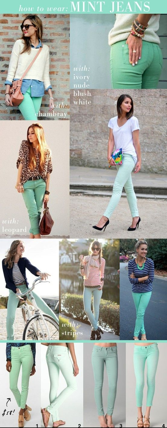 Different ways to wear mint colored jeans: