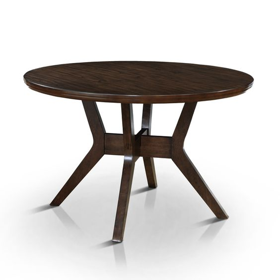 furniture of america katrin mid century modern style 48 inch round walnut dining table by. Black Bedroom Furniture Sets. Home Design Ideas