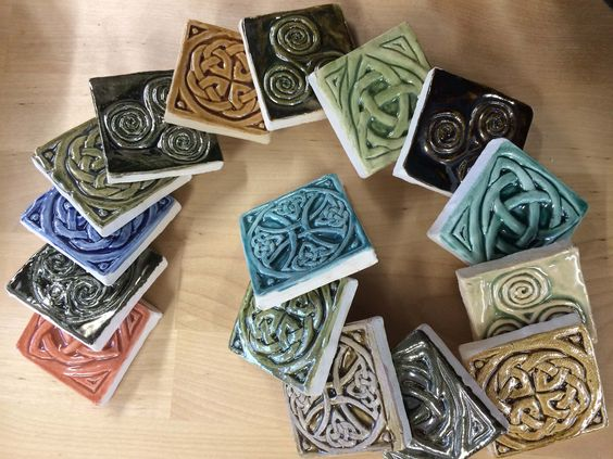 """Celtic Valley Ceramics - Tiny Wee Tiles, 2"""" inset collection."""