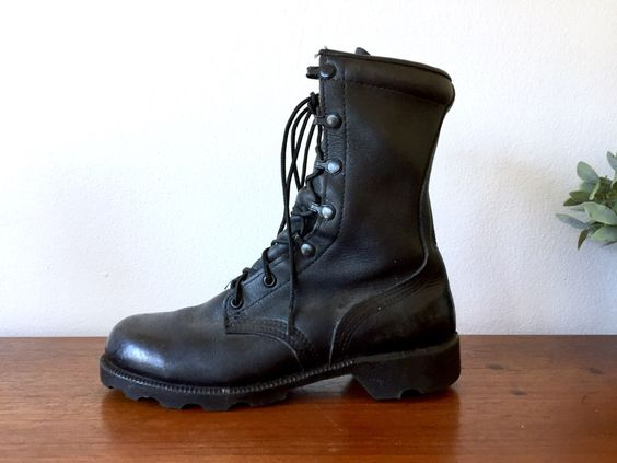 Black Leather Combat Boots / Altama Steel Toe Military Grade ...