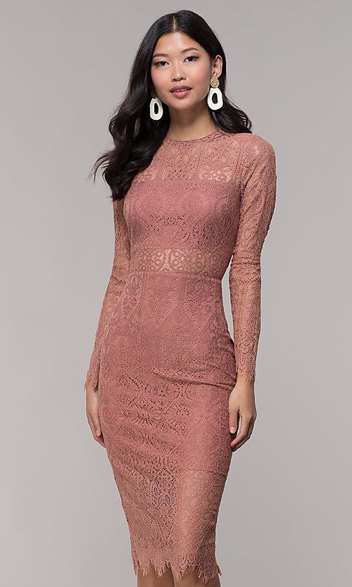 Mauve Midi Wedding Guest Dress With Long Sleeves Wedding Party Dress Guest Guest Dresses Cocktail Bridesmaid Dresses,A Line Simple Wedding Dresses