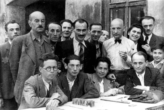 Lodz, Poland, A group of Jews in the ghetto.