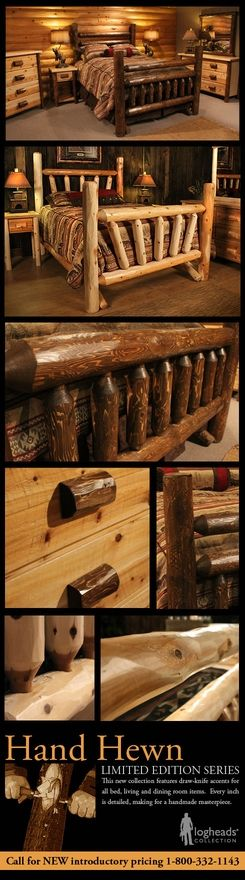 Hand hewn and peeled log bedroom furniture available in for Hewn log cabin kits