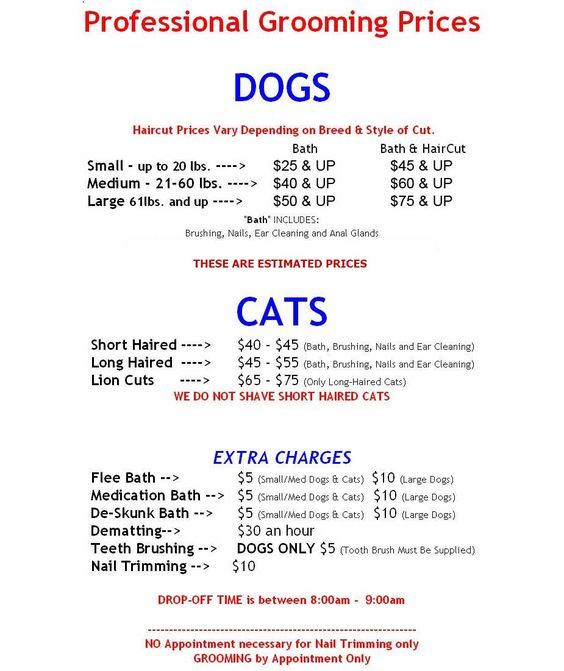 Grooming Services Price Sheet grooming Pinterest Dog - emergency release form