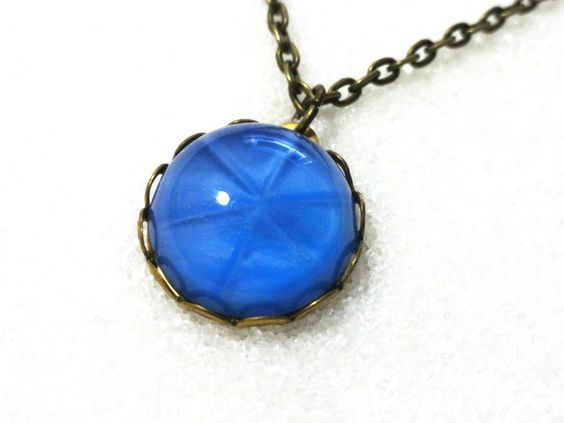 Sapphire Starburst Necklace! Only $14! Beautiful vintage item! Nickel free chain! Find them in Limited Edition Vintage at thenchantedforest.ca