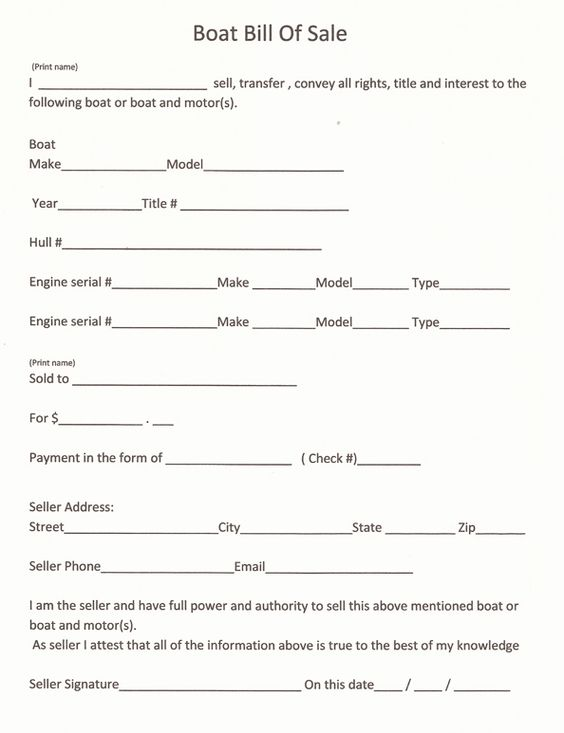 Free Colorado Boat Bill of Sale Form - Word PDF eForms u2013 Free - Boat Bill Of Sale