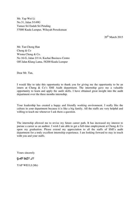 Thank You Letter Company Supervisor Wei Internship Appreciation