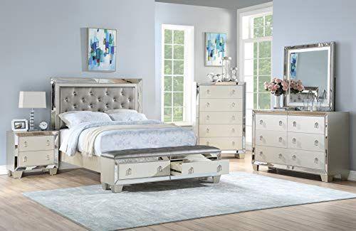 Esofastore Gray Modern Bedroom Set Queen Size Bed Dresser Mirror Nightstand Storage Drawers Set 4Pc Furniture