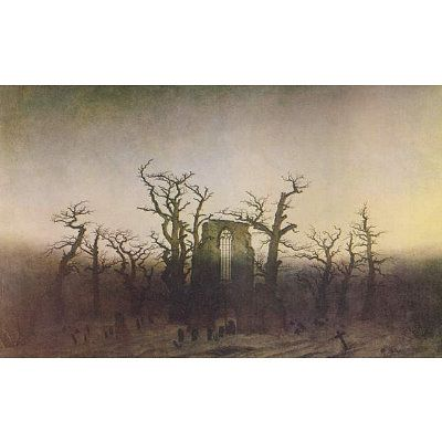 Caspar David Friedrich (Abbey in Eichwald (monk funeral in oak)) Art Poster Print