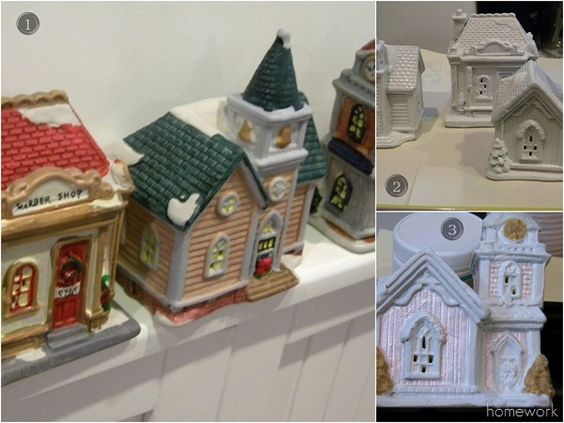 Blog Glitter Village:  Dollar Tree houses painted with the Martha Stewart pearl paint was dry, I added a top coat of Martha Stewart Coarse Glitter craft paint in Sugar Cube to give the roof and trim some shimmer.