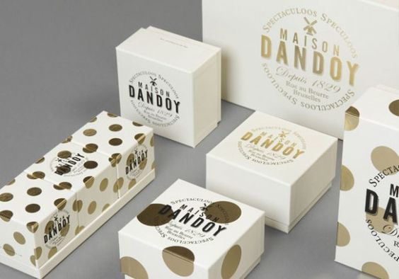 Dandoy - gold foil polka dots on cream