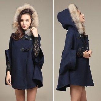 wool blend Poncho with faux fur hood- ETA last week of November