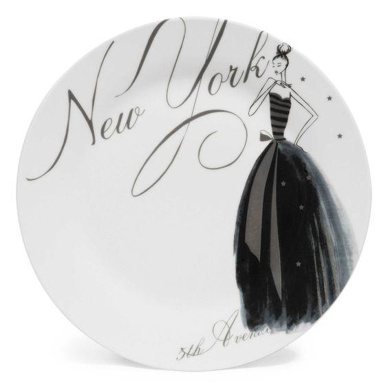 Assiette plate en porcelaine blanche D 27 cm NYC MODEUSE