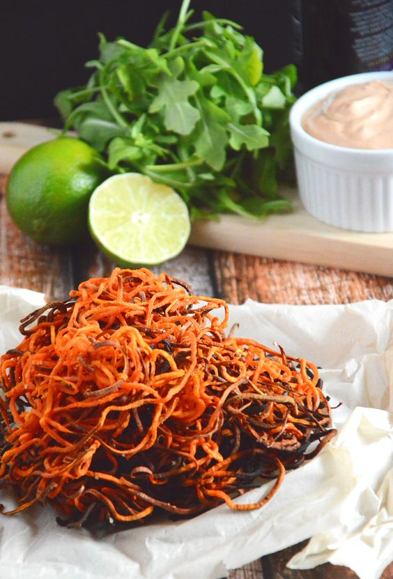 Sweet Potato Curly Fries with Chipotle Lime Aioli