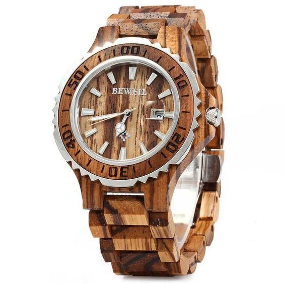 Luxury Brand Wooden Men Quartz Watch with Luminous Hands 30M Water Resistance