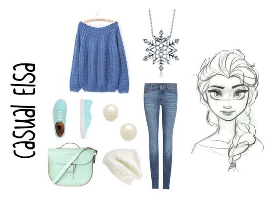 Casual Elsa by musicaltheatrenerd84 on Polyvore featuring polyvore, fashion, style, 7 For All Mankind, Vans, Brit-Stitch, BERRICLE, Disney, Juliet & Company and King & Fifth Supply Co.