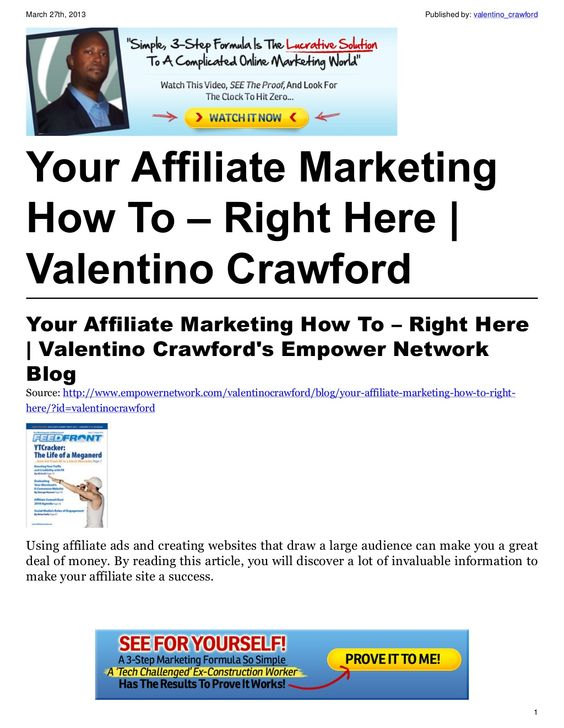 your-affiliate-marketing-how-to-right-here-17798261 by Valentino Crawford via Slideshare