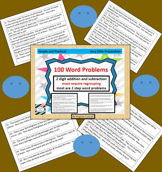 Word Problems--3 digit addition and subtraction | Words, Word ...