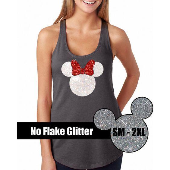 Glitter Minnie Mouse Tank Disneyland Shirt Disney Cinderella Castle... ($22) ❤ liked on Polyvore featuring tops, black, tanks, women's clothing, summer shirts, glitter tank top, black shirt, red tank top and bow shirt